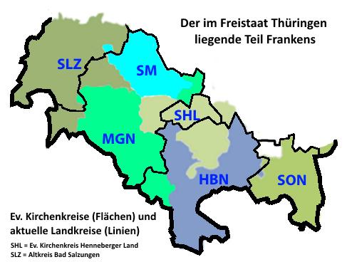 Ev. Kirchenkreise und aktuelle Landkreise