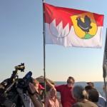 Henneberg-Franken-Fahne auf dem Bismarckturm in Suhl